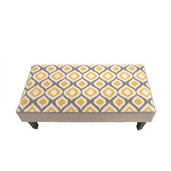 PHI - PHI Ogee Hook Bench-Yellow/Grey - Yellow and Grey Ogee Hook Bench by PHI. 100% Wool & Wood.