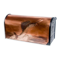 Sailfish Post Mount Copper Mailbox - Copper - Perfect for the deep sea fisherman, this post mount copper mailbox is hand-embossed with an impressive sailfish leaping from the ocean.  The picture is accented with subtle color, and is signed and dated by the artist.