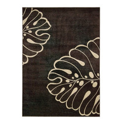 Nourison - Nourison Expressions XP03 Rectangle Rug - This bold and organic print features a larger-than-life leaf design in rich ivory on an optical illusion background of forest green with chocolate brown. Exquisite hand-carving imparts heavenly texture and dimension.    Product Measures: 2' width x 2.9' length; 2' width x 5.9' length; 2.3' width x 8' length; 3.6' width x 5.6' length; 5.3' width x 7.5' length; 7.9' width x 10.1' lengthManufactured in: Imported    Material: 50% Poly 50% Acrylic