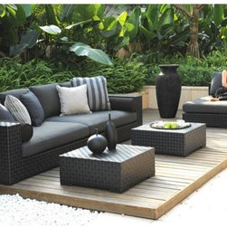 Tres Deep Outdoor Seating Collection - The Tres Deep Collection from designer Normand Couture offers luxuriously sized pieces with very deep cushions. Ideal for larger spaces.