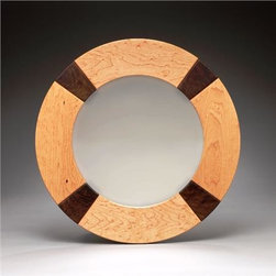 Bird's Eye Mirror - Crisp and proper with a nautical influence, this wall mirror can be used anywhere in the home or office. Crafted from sections of Bird's-Eye Maple divided by Walnut wedge segments, both carefully detailed with a 1/8 round-over. Finished with eco-friendly, non-toxic finish that repels water.