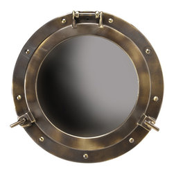 """Inviting Home - Cabin Porthole Mirror (medium) - medium porthole mirror 15""""dia. x 2-13/16""""D Measuring 15 inches this solid cast bronze porthole mirror is classic. For nautical inspired rooms beach cabin porches executive offices.... This porthole mirror is not only for nautical aficionados. An ageless solid brass mirror frame that will survive ages when treated properly. Cabin porthole mirror is actually opens up and is easy to mount."""