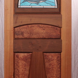 """The Dolphin 2 Entry Door - ZoletaLeeDesigns.com custom stained glass. This is the beautiful Dolphin 2 Entry Door.  It is Old Growth vertical grain Redwood by MendocinoDoors.com.  It is 36""""x80"""" by 1-3/4."""