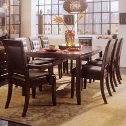 "American Drew - American Drew Tribecca Rectangular Leg Table Multicolor - 912-760 - Shop for Dining Tables from Hayneedle.com! Update the look of your dining room with the modern style of the Tribecca Rectangular Leg Table. Crafted from beautiful cherry veneers and select hardwoods this table can seat six or eight with the extension. The butterfly leaf is hidden within the table for easy storage. Place your order for the stylish and modern Tribecca Rectangular Leg Table and freshen up your home decor today. This purchase is for dining table only please see ""Related Items"" for matching chairs or complete dining set. About American DrewFounded in 1927 American Drew is a well-established leading manufacturer of medium- to upper-medium-priced bedroom dining room and occasional furniture. American Drew's product collections cover a broad variety of style categories including traditional transitional and contemporary. Their collections range from the legendary 18th-century traditional ""Cherry Grove "" celebrating its 42nd year of success to the extremely popular ""Bob Mackie Home Collection "" influenced by the world-renowned fashion designer Bob Mackie. ""Jessica McClintock Home"" features another beloved designer bringing unique style to an American Drew line. American Drew's headquarters are located in Greensboro N.C. Their products are distributed through thousands of independently owned retailers throughout the United States and Canada and around the world."