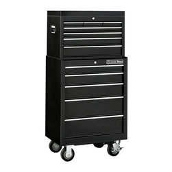 Extreme Tools - 5 Drawer Mobile Steel Tool Cabinet w Chest - Black Finish - Set includes Roller Cabinet, and Tool Top Chest. Made of Steel. 5 drawer Roller Tool Cabinet. Four 5 in. casters (two locking, two swivel). High gloss powder coat finish. Theft proof lock system. Ball bearing glides. 50 lbs. rating per drawer. Black finish. Some assembly required. Roller Cabinet: 26 in. W x 20 in. L x 36 in. H (115 lbs.). Tool Top Chest: 26 in. W x 16 in. L x 18 in. H (62 lbs.)