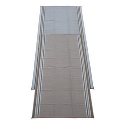 Fireside Patio Mats - Indoor/Outdoor Floor Mat: Mushroom Beige 9' x 18' Polypropylene Reversible Patio - Shop for Flooring at The Home Depot. Fireside Mushroom Beige 108 in. x 216 in. Reversible Patio Mat comes in a neutral Beige color with White accent stripes. This mat is large enough to comfortably sit 8 to 10 adults. Fireside reversible RV / Patio Mats will add a touch of elegance to your deck or patio. These high quality Polypropylene (plastic) mats are reversible with a complimentary pattern on the opposite side. You get two patterns for one low price. Fireside Patio Mats are lightweight and compact when folded so they are easy to travel with and easy to store. All of our Fireside indoor/outdoor reversible patio mats are stain and fade resistant and clean up is a breeze. Simply rinse your mat with a garden hose and allow to air dry. Fireside reversible patio mats have corner tie-down loops to stake the mat to the ground in windy conditions (tent stakes sold separately). Use our lightweight, reversible patio mats to spruce up a tired old deck or patio, while camping or RVing, on the beach, by the pool, for picnics, at car races, while tailgating, in the backyard or in the playroom or recreation room. Whether you call them RV mats, RV awning mats or simply patio mats, Fireside Patio Mats offers high quality reversible mats that are simply gorgeous and functional.