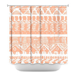 DiaNoche Designs - Shower Curtain Artistic - Boho Coral Aztec - DiaNoche Designs works with artists from around the world to bring unique, artistic products to decorate all aspects of your home.  Our designer Shower Curtains will be the talk of every guest to visit your bathroom!  Our Shower Curtains have Sewn reinforced holes for curtain rings, Shower Curtain Rings Not Included.  Dye Sublimation printing adheres the ink to the material for long life and durability. Machine Wash upon arrival for maximum softness on cold and dry low.  Printed in USA.