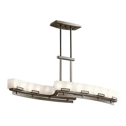 KICHLER - KICHLER Leeds Soft Contemporary Rectangular Kitchen Island / Billiard Light X-ZW - Rectangular accents highlight each individual white opal etched glass shade on this Kichler Lighting kitchen island light. From the Leeds Collection, subtle soft curves are highlighted by a Shadow Bronze finish to complete the look.