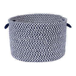 Colonial Mills, Inc. - Outdoor Houndstooth Tweed Navy Utility Basket - Durable, versatile and adorable all at once, this handled basket will help you hold, hide and haul just about everything indoors or out. The braided polypropylene is stain and fade resistant in a classic navy and white houndstooth pattern for long-lasting beauty.