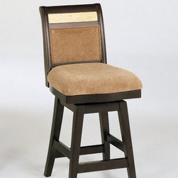 "Armen Living - 26"" Counter High Swivel Barstool in Beige Chenille - 26' counter high swivel barstool with medium beige chenille fabric and a corallo marble inlay in the back. Espresso wood finish. Armen Living is the quintessential modern-day furniture designer and manufacturer. With flexibility and speed to market, Armen Living exceeds the customer's expectations at every level of interaction. Armen Living not only delivers sensational products of exceptional quality, but also offers extraordinarily powerful reliability and capability only limited by the imagination. Our client relationships are fully supported and sustained by a stellar name, legendary history, and enduring reputation. The groundbreaking new Armen Living line represents a refreshingly innovative creative collaboration with top designers in the home furnishings industry. The result is a uniquely modern collection gorgeously enhanced by sophisticated retro aesthetics. Armen Living celebrates bold individuality, vibrant youthfulness, sensual refinement, and expert craftsmanship at fiscally sensible price points. Each piece conveys pleasure and exudes self expression while resonating with the contemporary chic lifestyle. Features: -Espresso wood finish. -Material: Leather. -Color: Brown. -Swiveling barstool from the B385 series. -With a marble inlay. -Medium beige chenille fabric. -Corallo marble inlay in the back. -Comes with standard 1 year limited warranty. -Overall dimensions: 40"" H x 19"" W x 17"" D."