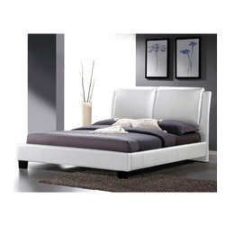 Baxton Studio - Sabrina White Modern King-size Bed with Overstuffed Headboard - The luxurious overstuffed King-size headboard and sleek minimalist style will fit the bill with style. This white faux leather version is equally attractive and plush,featuring an overstuffed polyurethane foam-padded headboard.