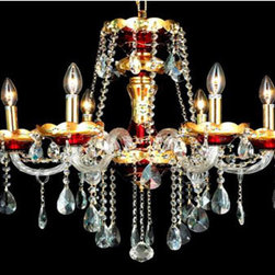 Elegant Lighting - Elegant Lighting 7810D24G/EC Alexandria 6 Light Chandeliers in Gold - 7810 Alexandria Collection Hanging Fixture D24in H27in Lt:6 Gold & Red Finish (Elegant Cut Crystals)