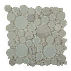 "Euro Glass - Bubble Dove  Circles White Lagoon Series Glossy & Frosted Glass and Stone - Sheet size:  12"" x 12""        Tile Size:  Circles        Tiles per sheet:  120        Tile thickness:  1/4""        Grout Joints:  1/8""        Sheet Mount:  Mesh Backed   MATCHING 4"" X 12"" BORDER AVAILABLE    Sold by the sheet     -"