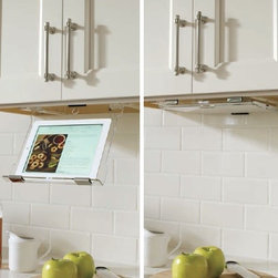 "Kemper Cabinets - Under Cabinet Tablet Holder - - Mounts under 12"" wide cabinet or wider"