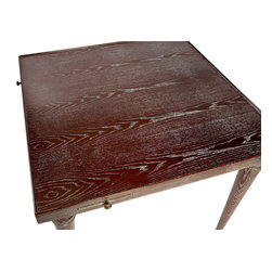 "Two Worlds Arts Game Table (SALE ITEM) - The brown-grain Game Table made of wood is handmade and hand-painted, featured by slender pull-out shelves on each side. Size: 31.5"" x 31.5"" x 30""H  Care: wipe with a cloth"