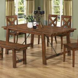 Coaster - Lawson Dining Table, Rustic Oak - You'll enjoy the unique design elements of this collection displayed in its wood paneled top and large accent bold elements. Bring the style of the Lawson collection into your living room with matching occasional tables and entertainment unit. Accented with cable ties to enhance the rustic feel, this group is sure to be a conversation starter among your guests.