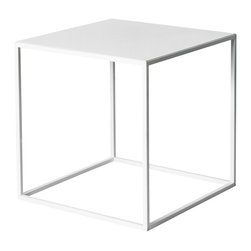 """patrick cain designs - White Powder Coated Cube - This is 17""""x17""""x17"""" steel cube powder coated white. These are very durable, high strength and is only about 8 lbs."""