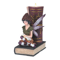 GSC - 8 Inch Purple Fairy Reading While Sitting on Book Candle Holder - This gorgeous 8 Inch Purple Fairy Reading While Sitting on Book Candle Holder has the finest details and highest quality you will find anywhere! 8 Inch Purple Fairy Reading While Sitting on Book Candle Holder is truly remarkable.