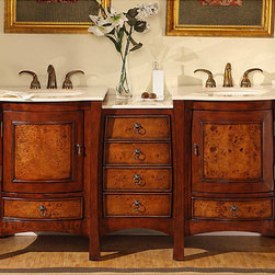 Silkroad Exclusive - Silkroad Exclusive Marble Top 67-inch Double Sink Vanity Cabinet - Type: Bathroom double sink cabinet vanity Materials: Natural stone, solid wood structure, CARB PH2 certified plywood and MDF panels, ceramic sink Hardware finish: Antique brass