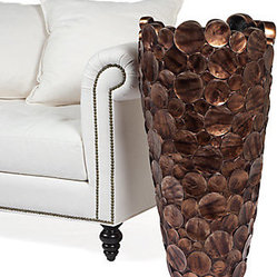 "Z Gallerie - Inci Floor Vase - 38""H - Z Galleries exclusive Inci Floor vase combines an interesting textural technique with a sophisticated copper finish to make a major decorative impact. The vase is impressively scaled but lightweight. Measures 38 in height and 20 in diameter. The vase is made of fiberglass with a resin overlay."