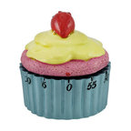 Cute Strawberry Cupcake 60 Minute Kitchen Timer Blue - This adorable windup cupcake kitchen timer is most appropriate way to time your baking cupcakes. The arrow on the timer's top portion, icing-and-strawberry-topped pink cake, winds in a circle above the bottom blue cup which is marked with a minute count in increments of five. As the timer counts down to zero, the frosted toppings spin around the cup until the satisfying sound of a bell indicates its time to eat some cupcakes. The cupcake timer, made from cold cast resin, measures 3 inches tall with a 2 1/2 inch diameter. This sweet timekeeper makes an adorable kitchen accent and a thoughtful gift for bakers.