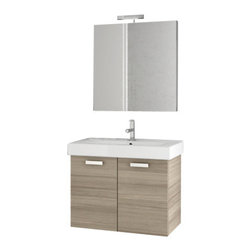 ACF - 30 Inch Larch Canapa Bathroom Vanity Set - Set Includes: Vanity Cabinet (2 Doors), high-end fitted ceramic sink, wall mounted vanity mirror.