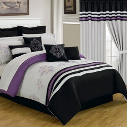 Lavish Home 25 Piece Room-In-A-Bag Rachel Bedroom Set - With everything from window treatments to bedding, the Lavish Home 25 Piece Room-In-A-Bag Rachel Bedroom Set is a quick and easy way to get a whole new look in your bedroom. This collection has a contemporary black, white, and purple stripe pattern with elegant embroidery details. All pieces are made of ultra-soft polyester and coordinate beautifully. The comforter is overfilled, oversized, and reversible. Machine-wash pieces in cold water and tumble-dry on low.Set Includes:1 Comforter1 Bedskirt: 15D in.2 Pillow shams: 20 x 36 in.3 Euro pillow shams: 26 x 26 in.4 Decorative pillows1 Flat sheet1 Fitted sheet2 Pillowcases4 Window panels: 56 x 84 in.2 Window valances: 84W x 15L in.4 Curtain tie-backsComforter Dimensions:Queen: 92L x 92W in.King: 106L x 92W in.About Trademark Global Inc.Located in Lorain, Ohio, Trademark Global offers a vast selection of items for your home and lifestyle. Whether you need automotive products, collectibles, electronics, general merchandise, home and garden items, home decor, housewares, outdoor supplies, sporting goods, tools, or toys, Trademark Global has it at a price you can afford. Decor items and so much more are the hallmark of this company.