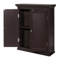 Elegant Home Fashions - Slone Wall Cabinet 2 Shutter Doors - The Slone Wall Cabinet with Two Doors from Elegant Home Fashions in dark espresso has an elegant crown molded top with two decorative louvered doors that add ample storage with style to your bathroom.  The decorative louvered doors keep your toiletries hidden and provide privacy.  It is also very functional with one adjustable interior shelf.  It also features chrome finished knobs for easy opening .This cabinet comes with assembly hardware.