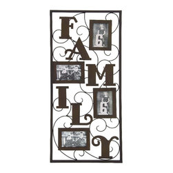 Woodland Imports - Family Rectangular Photo Panel 4 Picture Frames Metal Scroll Home Decor 52738 - Family themed rectangular photo display panel with 4 picture frames set in antiqued brown metal with scroll home decor