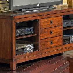 Steve Silver Co. - Davenport TV Stand w Glass Doors in Cherry Fi - Includes TV stand only. 2 glass doors & 3 drawers. Plenty of room for components. Rich Cherry finish. Slate inlay. Contemporary style. Corner block construction. Tongue and groove joints. Select hardwood solids material. Some assembly required. 61 in. W x 18 in. D x 28 in. H (165 lbs.)
