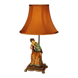 Lamps Plus - Asian Figurine Seated Woman Hand Painted Table Lamp - A vintage look table lamp design with a charming figurine base, from the Judith Edwards lighting collection. This lamp was inspired by vintage designs from the 1930s. From Judith Edwards, it features a brightly colored base with seated figure. A luminous silk shade is at the top. On/off switch.
