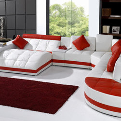 5012 Modern White And Red Leather Sectional Sofa - The contemporary style and design of the sofa emphasizes its functionality as well as the space where it will be positioned. This huge sofa set is supported by stainless steel legs. Bonded leather/PVC upholstery can be upgraded to genuine leather quality.
