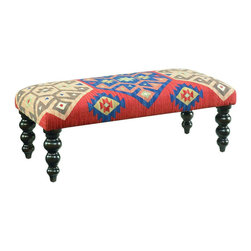 "Hammary - Hidden Treasures Kilim Rug Bench - ""Hammary's Hidden Treasures collection is a fine assortment of unique accent pieces inspired by some of the greatest designs the world over. Each selection is rich in Old World icons and traditions."