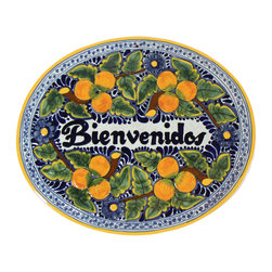 Native Trails - Tile 'Bienvenidos' Plaque in Peaches, Large - This plaque is just peachy. Give your visitors a big, warm welcome with this large handmade tile. Skilled artisans craft it entirely by hand, so each is unique just like your guests.