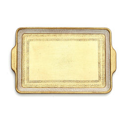 Cellini Small Rectangular Tray - Exquisite lace patterns frame the center of the Cellini Small Rectangular Tray, a lovely surface on which crystal glows and formal china looks right at home. The wooden tray, a handmade piece from Italy, is treated with gold leaf and slightly aged ivory paint for a radiant, luxurious look, then finished with a moisture-resistant coating so you can serve hot and cold beverages and snacks on it.