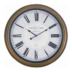 Cooper Classics - Henley Clock - Shown in Toffee Finish. Henley Clock is 24.5 in. Diameter.