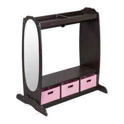 """Guidecraft - Dress Up Storage - Features: -A sturdy wood dowel and hooks for hanging clothes and costumes.-Upper and lower storage areas with fabric bins for toys, shoes and dramatic play items.-A tall acrylic mirror for dramatic play.-Collection: Dramatic Play.-Hardware Finish: Plated.-Distressed: No.-Frame Material: MDF.-Fabric Material: Non-woven canvas.-Hardware Material: Steel.-Solid Wood Construction: No.-Non-Toxic: Yes.-Insect Resistant: No.-Rot Resistant: No.-Number of Exterior Shelves: 1.-Number of Baskets: 3.-Removable Dividers: No.-Lidded: Yes -Removable Lid : No.-Safety Lid: No..-Upholstered: No.-Handles: No.-Casters: No.-Stackable: No.-Tipping Prevention: No.-Weight Capacity: 51 lbs.-Swatch Available: No.-Commercial Use: Yes.-Recycled Content: No.-Eco-Friendly: No.-Product Care: Wipe off with warm soapy water.-Age Recommendation: 2-7.Specifications: -FSC Certified: No.-CPSIA or CPSC Compliant: Yes.-CARB Compliant: No.-JPMA Certified: No.-ASTM Certified: Yes.-PEFC Certified: No.-Green Guard Certified: No.Dimensions: -Overall Height - Top to Bottom: 42"""".-Overall Width - Side to Side: 36"""".-Overall Depth - Front to Back: 24"""".-Shelving: -Shelf Height - Top to Bottom: 2"""".-Shelf Width - Side to Side: 35"""".-Shelf Depth - Front to Back: 20""""..-Basket: -Basket Height - Top to Bottom: 7.25"""".-Basket Width - Side to Side: 11.5"""".-Basket Depth - Front to Back: 20""""..-Storage Compartment: Yes.-Overall Product Weight: 50 lbs.Assembly: -Assembly Required: Yes.-Tools Needed: Allen Wrench provided & Phillip-head screw driver.-Additional Parts Required: No.Warranty: -Product Warranty: 1 year from purchase."""