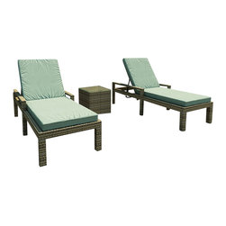 Forever Patio - Hampton 3 Piece Adjustable Chaise Lounge Set, Heather Wicker and Spa Cushions - Create a seaside feel in your backyard, no matter where you live. These comfortable chaise lounges with sleek Sunbrella® cushions come with a modern glass-topped end table to hold your snacks and reading material. The durable aluminum and wicker frame will last for many summers to come.
