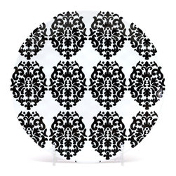 "Q Squared NYC - 8.5"" Round Plate Victorian - Black & White - Like the looks of the past, but not the fragility? Consider this Victorian-inspired plate, updated in dashing black and white on easy-care melamine. Durable and heat resistant, it's perfect for entertaining indoors or out."