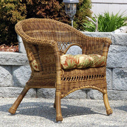 Casual Decor by Kaven - Grand Steel Armchair with Bahama Breeze Cushion - Walnut - Wicker Armchair offered in walnut color in UV protected resin wicker over a power coated steel frame. Great for the front porch, patio, or sunroom.