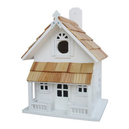 Home Bazaar, Inc. - Country Cottage Birdhouse White - The Country Cottage Birdhouse in White will remind you of a lakeside vacation home. Constructed of exterior grade ply-board, Pine roof shingles and poly resin for detail and decorations. The swing-up mounting peg makes installation a snap.