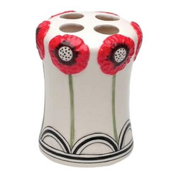 ATD - Decorative White and Red Wild Poppy Design Tooth Brush Holder - This gorgeous Decorative White and Red Wild Poppy Design Tooth Brush Holder has the finest details and highest quality you will find anywhere! Decorative White and Red Wild Poppy Design Tooth Brush Holder is truly remarkable.