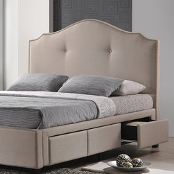 Baxton Studio - Beige Linen Modern Storage Bed & Upholstered Headboard - Drift off to dreamland on this plush bed that features a handsome scalloped headboard with nailhead trim, lush upholstered linen and three convenient drawers for storing little necessities.   Mattress and bedding not included 80.12'' W x 51.75'' H x 87'' D Linen / hardwood / medium-density fiberboard / foam Assembly required Imported
