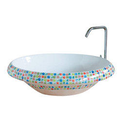 WS Bath Collections - LVT 100 - Arcobaleno Bathroom Sink - Ceramica by WS Bath Collections 16.1 Ø x 5.9 Above The Counter Bathroom Sink/ Washbasin in Hand Painted and Hand Decorated Ceramic