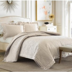 "Croscill Pierce Coverlet - The classic look of toile brings to mind the French countryside when you lay the Croscill Pierce Coverlet on your stylish bed. The elegant look is machine-washable on cold for easy care. You'll love the look of this chic coverlet. Choose from available sizes and colors.. Comforter Dimensions: Queen: 92L x 96W in. King: 96L x 110W in. Calif. king: 96L x 110W in. About CroscillCroscill was started in 1946. This company began with a revolutionary twist on the standard window curtain. Based in Brooklyn New York this company was named ""Croscilla"" for the way in which their curtain went across the entire window sill. From the very beginning Croscill set the highest standards for designs that beautify the home and enrich daily lives. Their design team includes industry leaders who are dedicated to providing a wide array of elegant choices. From timeless classics to the latest trends you'll find the look you want at Croscill."