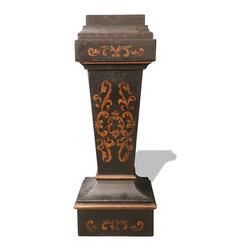 Pedestal Accent Table, French Black with Scrolls - Pedestal Accent Table, French Black with Maroon and Scrolls