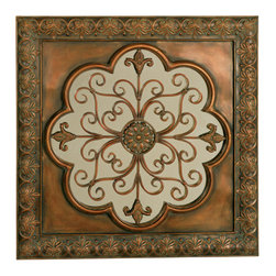 Welcome Home Accents - Center Mirror Wall Art - Enclosed with acanthus leaves our floral insert is backed with a mirror. Finished in a blackened copper. Hooks on back for easy hanging.