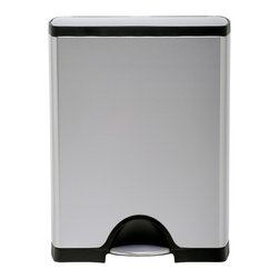 simplehuman - simplehuman Rectangular Step Brushed Stainless Steel Trash Can (13 Gallons) - This simplehuman stainless steel trash can features a sleek gray design. Capable of holding up to 13 gallons,this fingerprint-proof trash can has a strong,non-skid base,and is operated with a steel foot pedal to keep your hands clean.