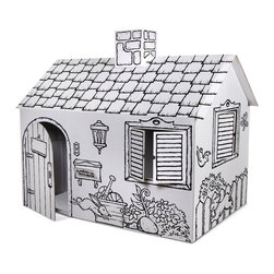 Discovery Kids Cardboard Color and Play Playhouse - Let your kids decorate their own cardboard playhouse and then spend afternoons playing inside of it!