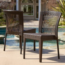 Dusk All-Weather Wicker Dining Chair - Set of 2 - Beautiful wicker in a variety of browns lend lasting beauty to the Dusk All-Weather Wicker Dining Chair - Set of 2. With a powder-coated iron frame and wicker that's woven of a durable resin material, they're made to last and can support strapping fellows. They're weather-resistant and ideal for poolside use or on the deck, patio, balcony, or veranda. No assembly is required as they arrive ready for use. These chairs stack for convenient storage when not in use.About Best Selling Home Decor Furniture LLCBest Selling Home Decor Furniture LLC is a US-based company dedicated to providing you with a wide variety of fine furniture. With sales and manufacturing offices in Europe and China, as well as the ability to ship to anywhere in the world, no one is excluded from bringing these lovely pieces home. From outdoor to indoor furniture, children's furniture to ottomans and home accessories, all your needs will be met with attractive, high quality products that will last.